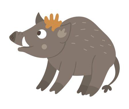 Vector hand drawn flat boar. Funny woodland animal. Cute forest pig illustration for children's design, print, stationery Иллюстрация
