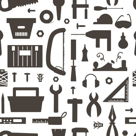 Vector tools silhouettes seamless pattern. Flat black and white illustration with building, carpenter equipment. Woodwork, repair service or craft workshop repeating background  イラスト・ベクター素材