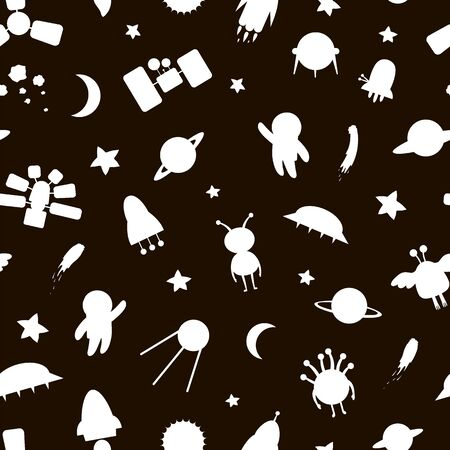 Vector seamless pattern of space white silhouettes. Black and white repeat background with planet, star, spaceship, satellite, moon, sun, asteroid, astronaut, alien, ufo. Line drawing for children