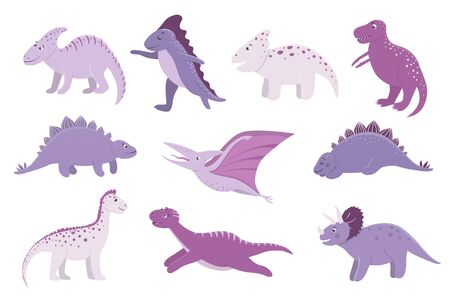 Vector set of cute pink and purple dinosaurs for children. Dino flat cartoon characters. Cute prehistoric reptiles illustration.  イラスト・ベクター素材