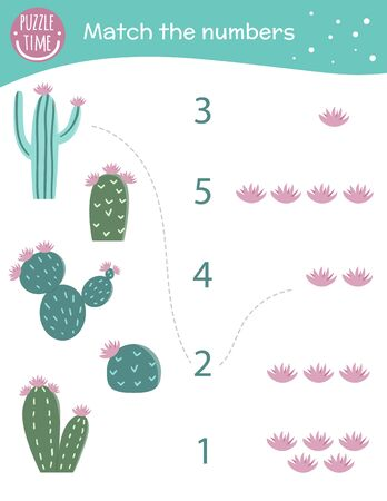 Matching game with cactus and flowers. Exotic, tropical or desert math activity for preschool children. Counting worksheet. Educational riddle with cute funny elements.