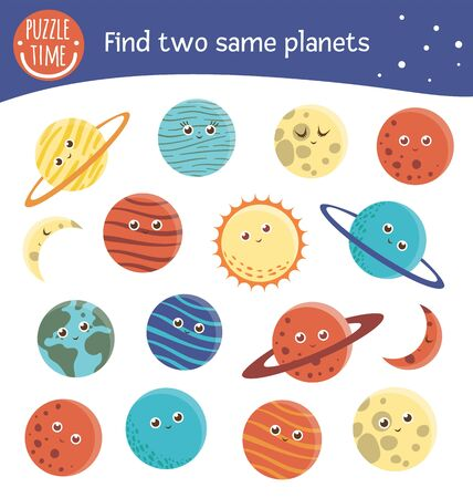 Find two same planets. Space matching activity for preschool children. Funny cosmic game for kids. Logical quiz worksheet.