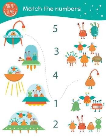 Matching game with aliens and UFOs. Space math activity for preschool children. Counting worksheet. Educational riddle with cute funny characters.  Иллюстрация