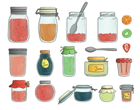Vector set of colored glass jam jars isolated on white background. Colorful collection of preserved food in pots with fruit and berries  イラスト・ベクター素材