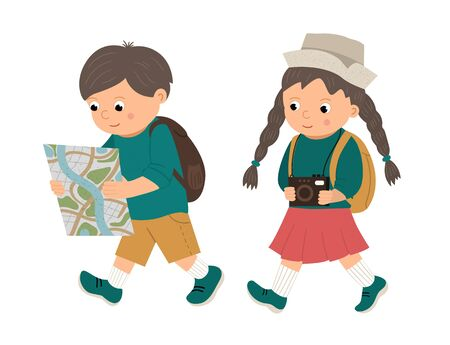 Vector illustration of a walking boy, looking into a map and a girl with camera. travelling children with backpacks. Scouts, travelers or holiday makers picture. Bright cute illustration  イラスト・ベクター素材