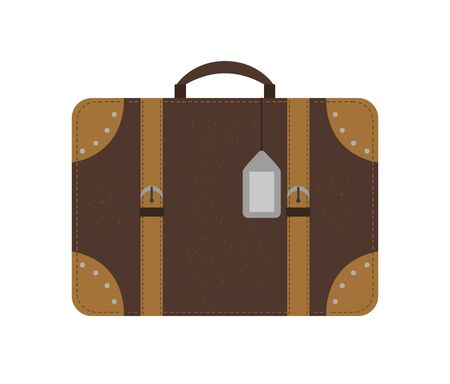 Vector flat illustration of a traveler's suitcase. Brown luggage icon with label. Travel object isolated on white background. Vacation infographic element  イラスト・ベクター素材