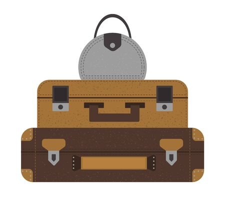 Vector flat illustration of a pile of traveler's suitcases. Brown luggage icon with label. Travel object isolated on white background. Vacation infographic element.  イラスト・ベクター素材
