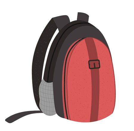 Vector flat illustration of a traveler's backpack. Trip bag sign. Travel object icon isolated on white background. Vacation infographic element.