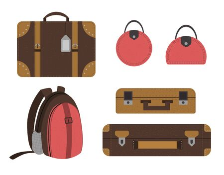 Vector flat set of traveler's suitcases. Luggage icons collection. Travel objects isolated on white background. Vacation infographic element.  イラスト・ベクター素材