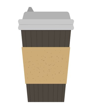 Vector flat illustration of take-away coffee cup. Fast food hot drink icon. Flat textured element isolated on white background  イラスト・ベクター素材