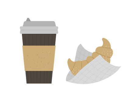 1647 Vector flat illustration of croissant with take-away coffee cup. French pastry and hot drink icon. Flat textured fast breakfast isolated on white background