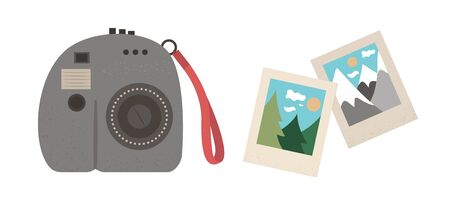 Vector flat illustration of a modern instant camera with photos. Trendy photo equipment icon with shots. Travel object isolated on white background. Vacation infographic element.