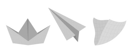 Vector flat illustration of paper ship, plane and serviette. Trendy textured origami clip art isolated on white background.