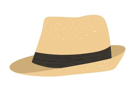 Vector flat illustration of a man's retro summer hat. Bright cap icon. Vintage head outfit object isolated on white background. Clothes infographic element.  イラスト・ベクター素材