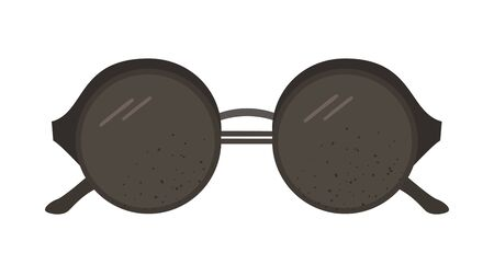 Vector flat illustration of modern sun glasses. Trendy black spectacles icon. Travel object isolated on white background. Vacation infographic element.  イラスト・ベクター素材