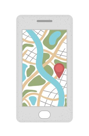 Vector flat illustration of mobile phone with map on the screen. Trendy flat colored smartphone icon. Travel object isolated on white background. Vacation infographic element.  イラスト・ベクター素材