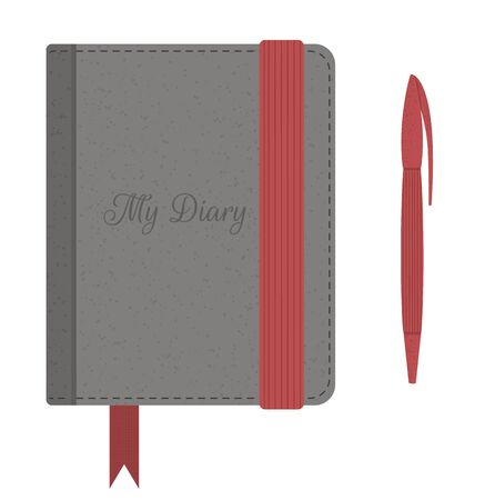 Vector flat illustration of a diary with string and pen. Vintage travel book icon. Journal for traveling notes isolated on white background. Stationery or vacation infographic element.