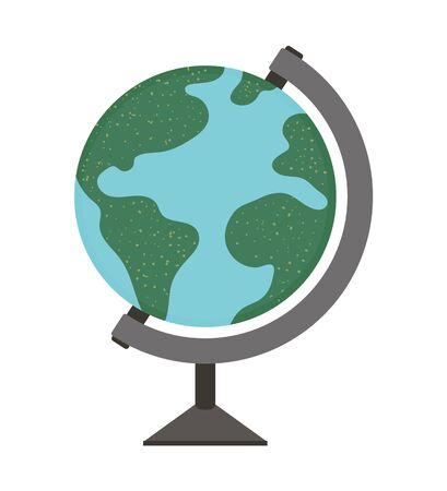 Vector flat illustration of a globe on a stand. World sphere map model isolated on white background. Vacation or school infographic element.