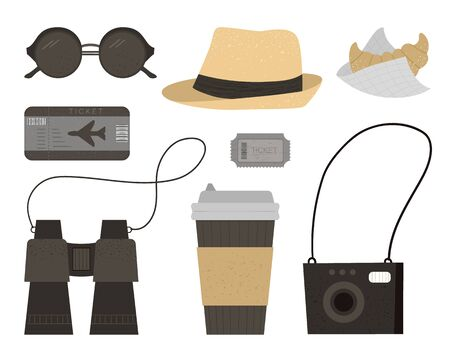 Vector flat illustration of sun glasses, hat, camera, tickets, binoculars coffee, croissant. Trendy journey kit. Travel objects set isolated on white background. Vacation infographic elements