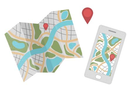 Vector flat illustration of mobile phone with map and location sign. Trendy flat colored smartphone and travel guide icon. Traveling object isolated on white background. Vacation infographic element.
