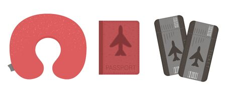 Vector flat illustration of plane cushion, passport, tickets. Flight traveler's equipment icon. Travel object isolated on white background. Vacation infographic element.  イラスト・ベクター素材