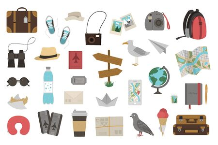 Vector big set of traveling objects isolated on white background. Trendy journey kit. Travel icons collection. Vacation infographic elements pack.