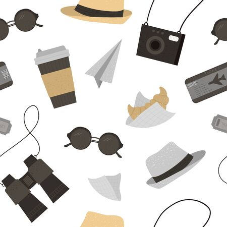Vector seamless pattern with sun glasses, hat, camera, tickets, binoculars coffee, croissant. Trendy journey texture. Travel objects background