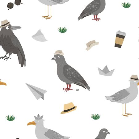 Vector seamless pattern with funny seagull, raven, pigeon with poo. Sea or city birds in hats background. Flat cute animal character texture.