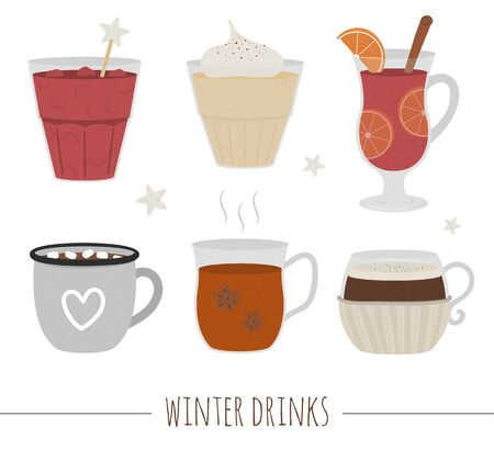 Set of winter traditional drinks. Holiday hot beverage collection. Vector illustration of cocoa, mulled wine, coffee, tea, eggnog, punch isolated on white background.