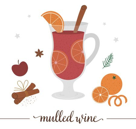 Vector illustration of mulled wine isolated on white background. Winter traditional drink. Holiday hot beverage with orange, apple, cinnamon. 向量圖像