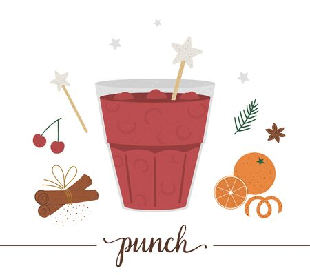 Vector illustration of punch isolated on white background. Winter traditional drink. Holiday hot beverage with orange, cherry, anise, cinnamon.