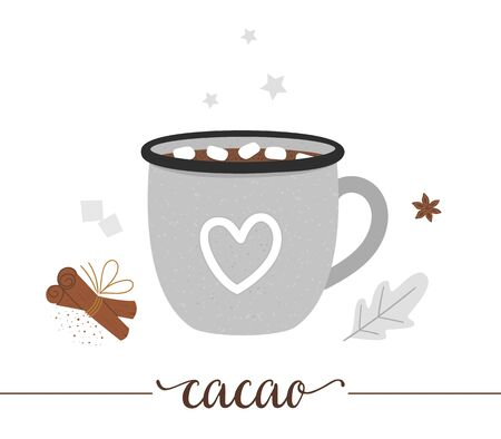 Vector illustration of cocoa in enamel cup isolated on white background. Winter traditional drink. Holiday hot beverage with marshmallow, sugar, anise, cinnamon. 向量圖像