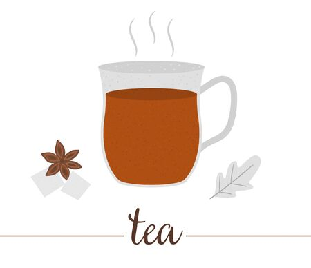 Vector illustration of tea isolated on white background. Winter traditional drink. Holiday hot beverage with sugar and anise. Ilustracja