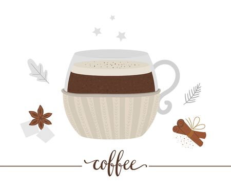 Vector illustration of coffee in mug with knitted holder isolated on white background. Winter traditional drink. Holiday hot beverage with sugar, anise, cinnamon.