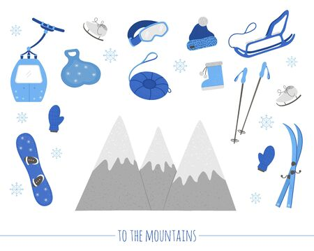 Vector set with objects for active winter. Cold season sport equipment set. Collection of items for spending holidays in mountains.