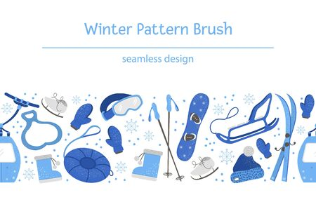 Vector seamless pattern brush with objects for active winter. Cold season sport equipment background. Repeating border with items for spending holidays in mountains and snowflakes.
