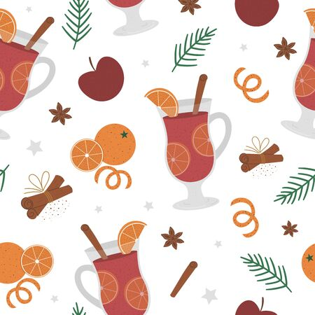 Vector mulled wine seamless pattern. Winter traditional warming drink repeating background. Holiday hot beverage with sugar, anise, cinnamon Banque d'images - 137773898