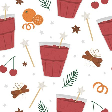 Vector cherry punch seamless pattern. Winter traditional warming drink repeating background. Holiday hot beverage with orange, anise, cinnamon