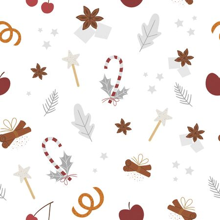 Vector seamless pattern with traditional winter spices and fruit. Holiday seasonal Christmas treats repeating background. Cozy warming food ingredients texture Ilustracja
