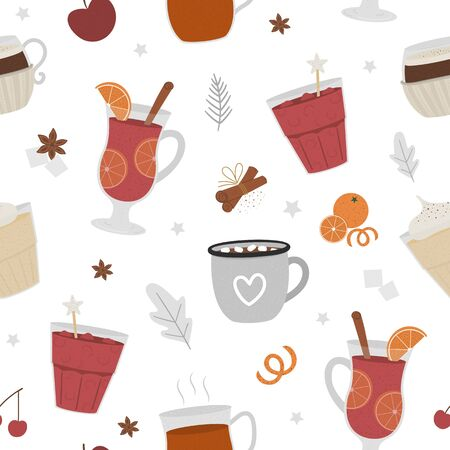 Vector seamless pattern with winter traditional warming drinks. Repeating background with holiday hot beverages, spices, fruit