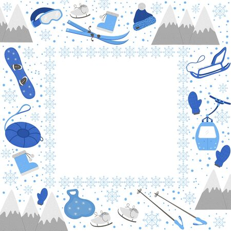 Vector square frame with objects for active winter. Cold season sport equipment card template. Flyer with items for spending holidays in mountains and snowflakes.