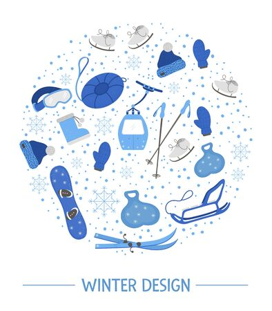 Vector objects for active winter framed in circle. Cold season sport equipment round composition. Card design with items for spending holidays in mountains and snowflakes.    イラスト・ベクター素材