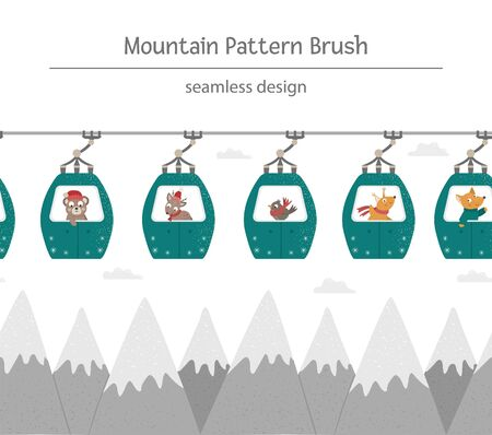 Vector seamless pattern brush with mountains and funicular cable cars with funny animals inside. Winter cute repeating background border. Illustration for kids