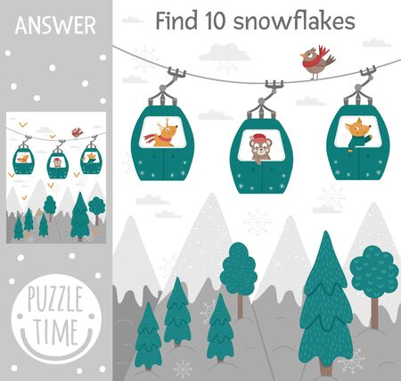 Winter searching game for children with mountains, forest, trees, animals in funicular cable cars. Cute funny smiling characters. Find hidden snowflakes.