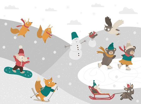 Winter scene with forest animals doing sport activities. Vector illustration of cute woodland characters playing snowballs, tubing, skating, skiing, snowboarding, building a snowman.   イラスト・ベクター素材