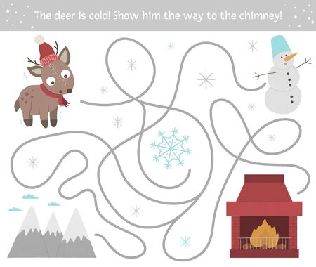 Winter maze for children. Preschool Christmas activity. New Year puzzle game with cute animal, snowman, mountains, snowflake. Help the deer get to the chimney.