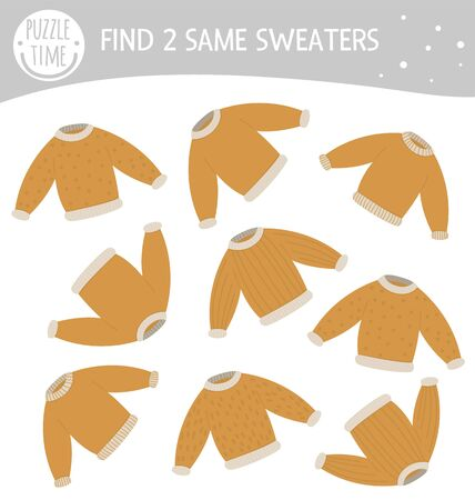Find two same sweaters. Winter matching activity for preschool children. Funny game for kids with clothes. Logical quiz worksheet.