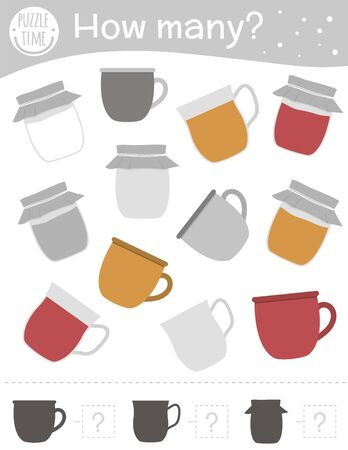 Winter counting game with cup, mug and jam jar. Winter math activity for preschool children. How many objects worksheet. Educational riddle with cute funny pictures.
