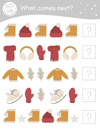 What comes next. Winter matching activity for preschool children with clothes and objects. Funny game for kids. Logical quiz worksheet. Continue the row.