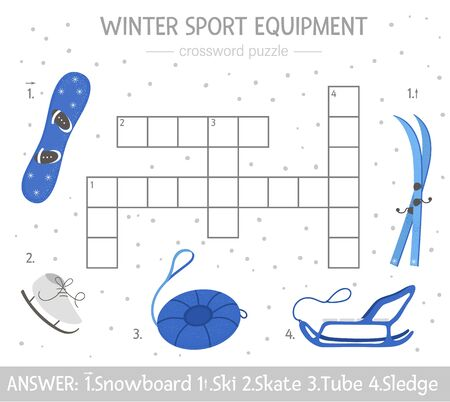 Vector winter crossword puzzle. Bright and colorful winter quiz for children. Educational activity with sport equipment Ilustração